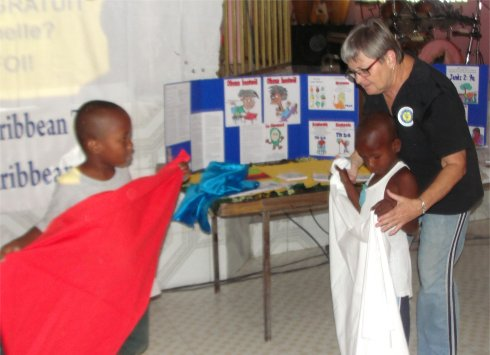 United Caribbean Trust Haiti Mission trip introducing Follow Me childrens curriculum