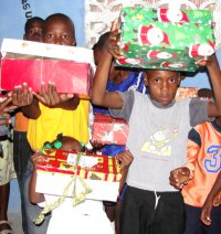 The Rock church receive their Make Jesus Smile shoeboxes