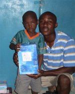 Daniel Noel in Haiti distiibuting the Make Jesus Smile shoeboxes