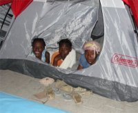 By the next night we were in our tents... they have been home for us now for over a month!