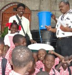 Children of Bethesda school receiving their Sawyer Filter Community Unit