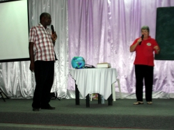 Apostle Iwan translated for Jenny during the French Guyana training.