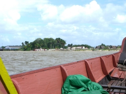 The little dug out canoe that took the team over from Suriname to French Guyana