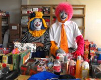 Annie the Clown and Hopie at the warehouse