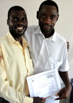 Seen here with Pastor David receiving his certificate