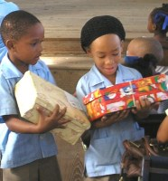 Society Primary received decorated shoeboxes filled with toys and other goodies from the United Caribbean Trust