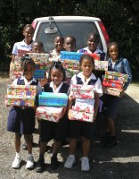 Children from St Silas school with the Make Jesus Smile shoebox project
