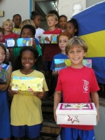 Children from St Gabriels school with the Make Jesus Smile shoebox project