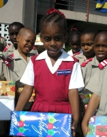 Children from St Mary's school with the Make Jesus Smile shoebox project