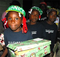 Children with the Make Jesus Smile shoeboxes