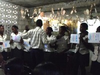 A class of teachers in Les Caynes being led by Pierre Banes LAURORE National Director of Evangelism Explosion in Haiti