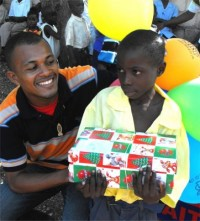 Seen here Hassan Jean Baptiste the Methodist reporter that assisted us with the Make Jesus Smile shoebox project