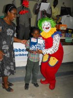 Annie the clown  with Rev Maud in the Methodist church in Petit Gouve.