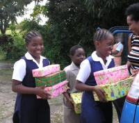 St Silus Primary School loading up the car with their many gifts