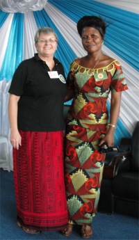Jenny with one of the host Pastors at Tanzania Calvary Tabernacle Church.
