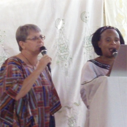 Pastor Martina translating for Jenny,founder of UCT and a KIMI Leadership Trainer.