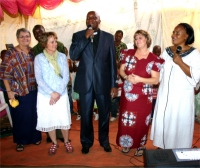 Seen here on the left to right: Jenny, Liz, Bishop Pinos, Pastor Laura and Pastor Martina.